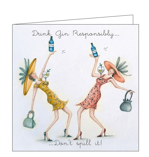 Berni Parker Ladies who Love Life drink gin responsibly blank card Nickery Nook