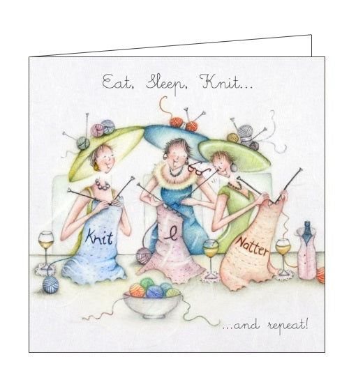Berni Parker Ladies who Love Life eat sleep knit blank card Nickery Nook