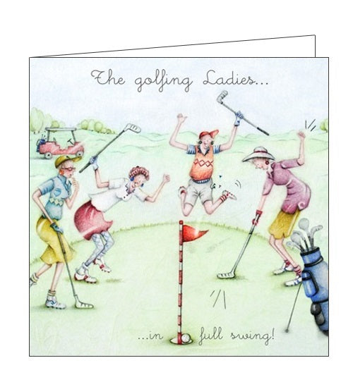 Berni Parker Ladies who Love Life golfing ladies in full swing blank card Nickery Nook
