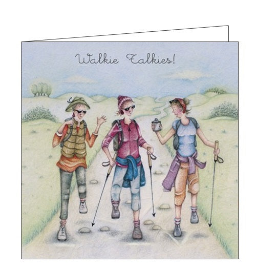 Berni Parker Ladies who Love Life hiking walkie talkies blank card Nickery Nook