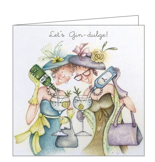 Berni Parker Ladies who Love Life lets gin-dulge gin and tonic blank card Nickery Nook