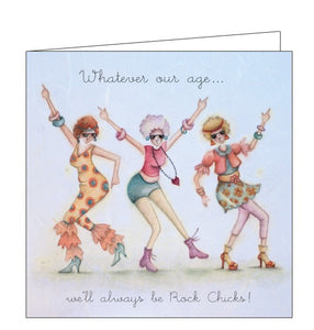 Berni Parker Ladies who Love Life we'll always be rock chicks blank card Nickery Nook
