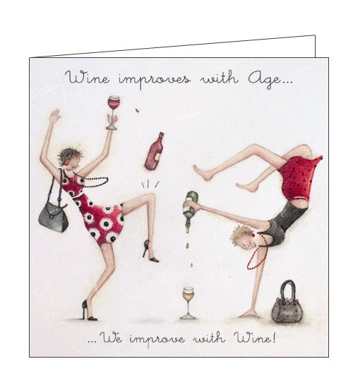 Berni Parker Ladies who Love Life wine improves with age blank card Nickery Nook