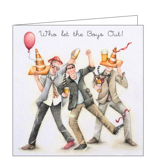 Berni Parker Men who Love Life who let the boys out blank card Nickery Nook