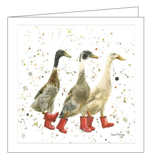 This blank card features Bree's illustration of a band of three ducks walking together in red wellington boots.  Skipton-based artist, Bree Merryn, can often be found on the Silsden and Ilkley moors, camera in hand, snapping the local wildlife. Her love of wildlife is apparent in the humour and personality she beautifully captures in her artwork.