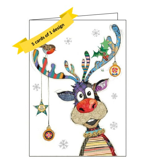 Bug Art pack of 5 christmas cards showing a patchwork rudolf - complete with red nose - and christmas baubles hanging from his antlers