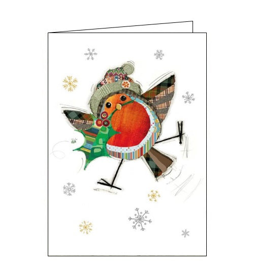 Beautiful, quirky and dramatic. This Christmas card from Bugart features an illustration of a patchwork robin, in a wooly bobble hat, carrying a sprig of holly in its beak.  Somewhere on the card is a tiny bug. Can you spot it?