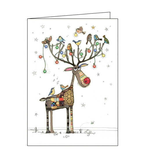 Beautiful, quirky and dramatic. This Christmas card from Bug art features brightly coloured illustration of a patchwork Rudolf - complete with red nose - watching a family of robins hang fairy lights on his antlers.  Somewhere on the card is a tiny bug. Can you spot it?