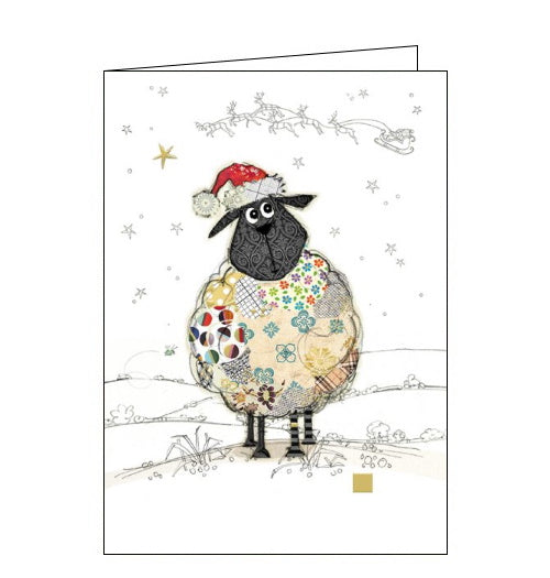 Beautiful, quirky and dramatic. This Christmas card from Bugart features an illustration of a patchwork sheep, in a Santa hat, stood in a snowy field. Out of the corner of its eye, the sheep can see Father Christmas and his sleigh pass in front of the moon above.  Somewhere on the card is a tiny bug. Can you spot it?