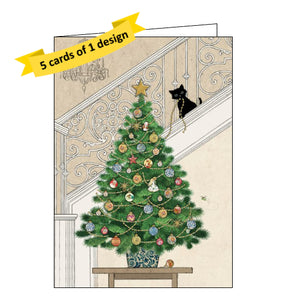 Bug Art pack 5 christmas cards showing kitten decorating a Christmas tree