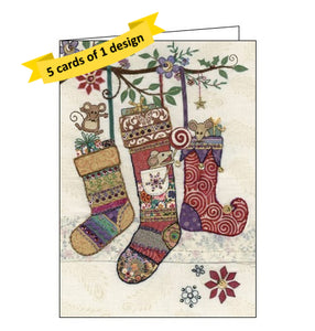 Bug Art pack of 5 christmas cards family of mice playing in christmas stockings