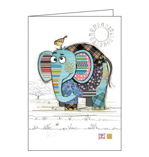 Bug Art Jane Crowther eric elephant blank card Nickery Nook