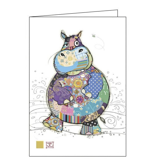 Bug Art Jane Crowther harry hippo hippopotamus blank card Nickery Nook