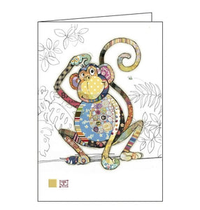 Bug Art Jane Crowther monty monkey blank card Nickery Nook