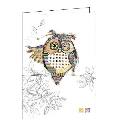 Bug Art Jane Crowther ollie owl birds blank card Nickery Nook