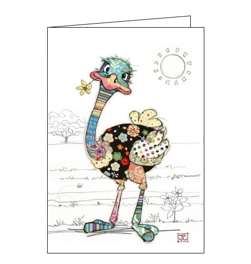 Bug Art Jane Crowther ozzie ostrich birds blank card Nickery Nook
