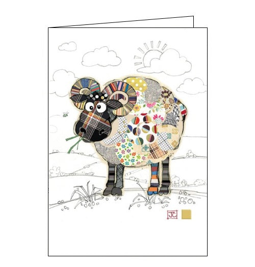 Bug Art Jane Crowther raymond ram sheep blank card Nickery Nook