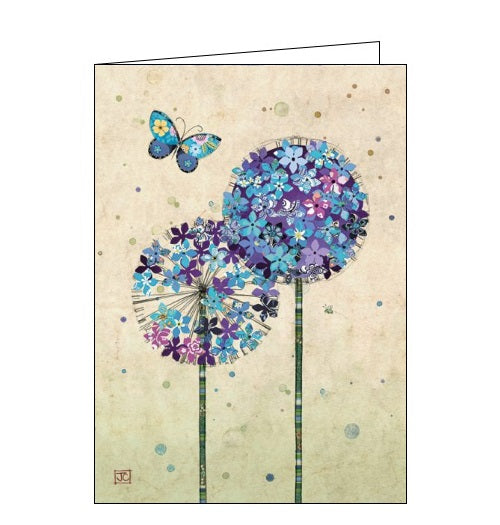 Bug Art jane crowther butterfly alliums florals flowers blank card Nickery Nook