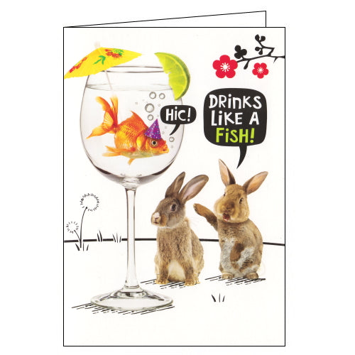 Card Mix Crackerjack funny birthday card drinks like a fish