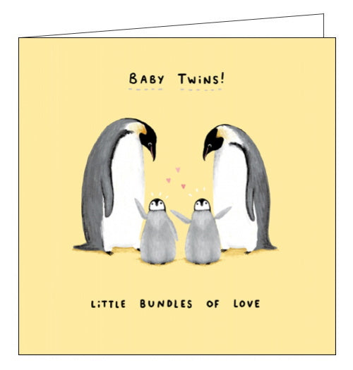 Card Mix penguins new baby twins card