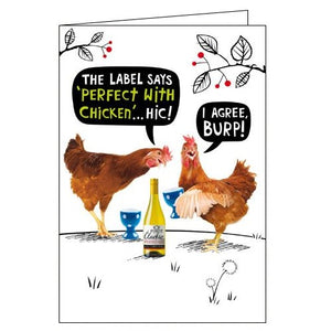 Card Mix Crackerjack humour blank card wine with chicken Nickery Nook