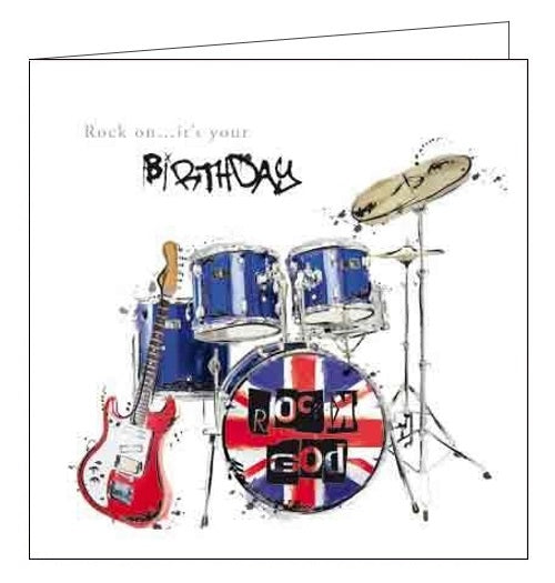 Card Mix Just Josh Guitar and Drums Happy Birthday card Nickery Nook