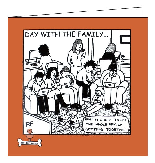 Card Mix Off the leash Rupert Fawcett day with the family dogs blank card Nickery Nook