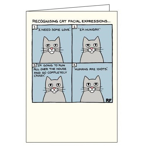 Card Mix On the Prowl Rupert Fawcett cat facial expressions funny card