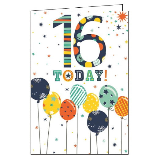 Cherry Orchard blue balloons 16th birthday card