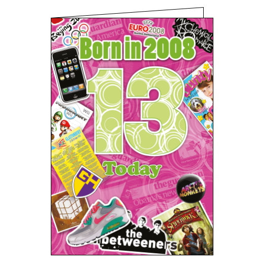 These fantastic 13th birthday cards from Cherry Orchard feature loads of interesting facts about the world 13 years ago. Did you know that in 2008 long-running children's TV show Grange Hill was axed, or that a ticket to Glastonbury cost £155?