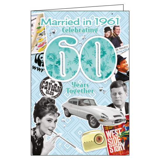 These fantastic Diamond Wedding Anniversary cards from Cherry Orchard feature loads of interesting facts about the world 60 years ago. Did you know that 1961 was the year The Avengers began airing on British TV, or that satirical magazine Private Eye started publication?