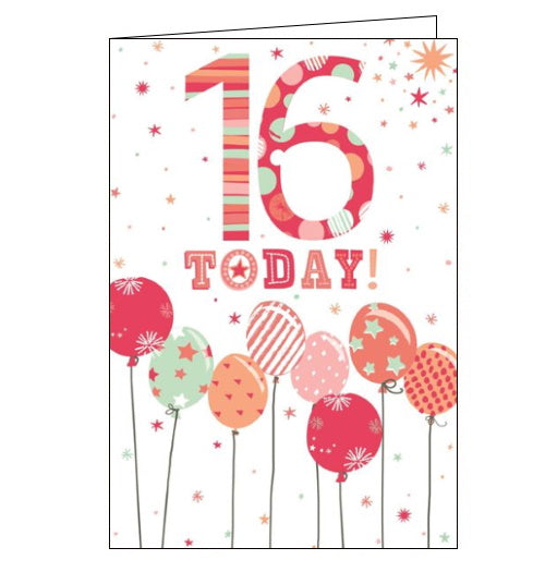 Cherry Orchard pink balloons 16th birthday card