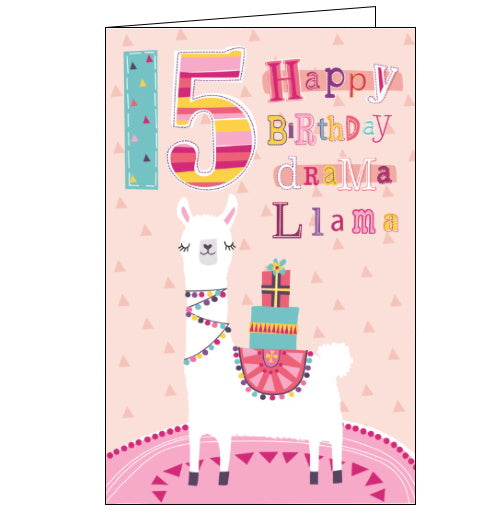Cherry Orchard 15th birthday card llama