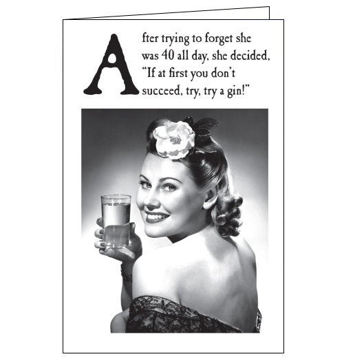 Emotional Rescue gin vintage humour 40th birthday card for her Nickery Nook
