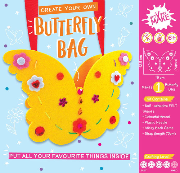 Perfect for encouraging creativity, self expression and teaching new skills this Create Your Own Butterfly Bag craft kit is perfect for children aged 6 and up. Ideal for a rainy day activity, for birthday parties or as a gift this kit comes complete with a pre-cut felt bag pieces, plastic needles, rainbow thread, ribbon and self-adhesive gems to make your bag sparkle. No scissors or glue needed.