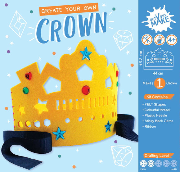 Perfect for encouraging creativity, self expression and teaching new skills this Create Your Own Crown craft kit is perfect for children aged 4 and up. Ideal for a rainy day activity, for birthday parties or as a gift this kit comes complete with a pre-cut felt crown shape, plastic needles, rainbow thread, ribbon and self-adhesive gems to make your crown sparkle. No scissors or glue needed.
