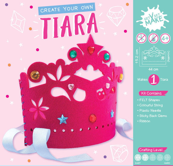 Perfect for encouraging creativity, self expression and teaching new skills this Create Your Own Tiara craft kit is perfect for children aged 4 and up. Ideal for a rainy day activity, for birthday parties or as a gift this kit comes complete with a pre-cut felt tiara pieces, plastic needles, rainbow thread, ribbon and self-adhesive gems to make your tiara sparkle. No scissors or glue needed.