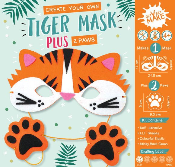 Perfect for encouraging creativity, self expression and teaching new skills this Create Your Own Tiger Mask and Paws craft kit is perfect for children aged 4 and up. Ideal for a rainy day activity, for birthday parties or as a gift this kit comes complete with pre-cut felt mask and paw pieces, plastic needles, elastic and self-adhesive gems to make your mask sparkle. No scissors or glue needed.