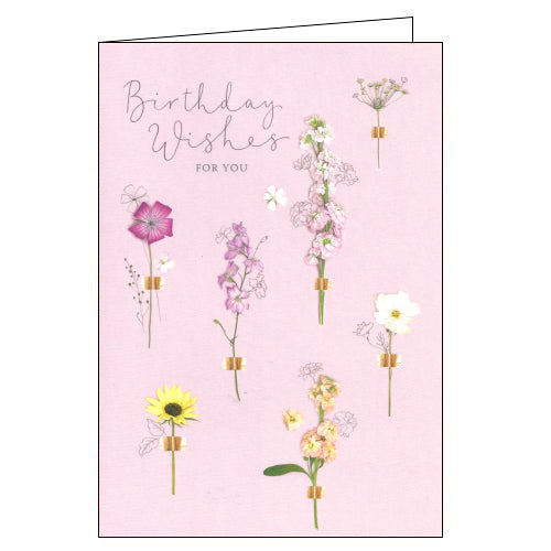 Gibson pressed flowers birthday card