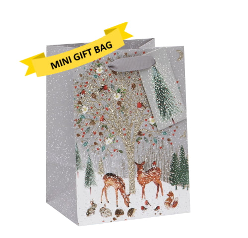 This tiny gift bag is the perfect size for a gift card or small jewellery box.  This tiny gift bag measures 8.7cm x 12cm x 7cm and comes with grey ribbon handles an a small gift tag.