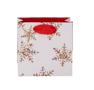 This Christmas gift bag is decorated with a scattering of gold and multi-coloured snowflakes against a white background. This small gift bag is the perfect size for mugs and candles.  This gift bag measures 13.3cm x 13cm x 11cm and comes with grosgrain ribbon handles and a matching gift tag.