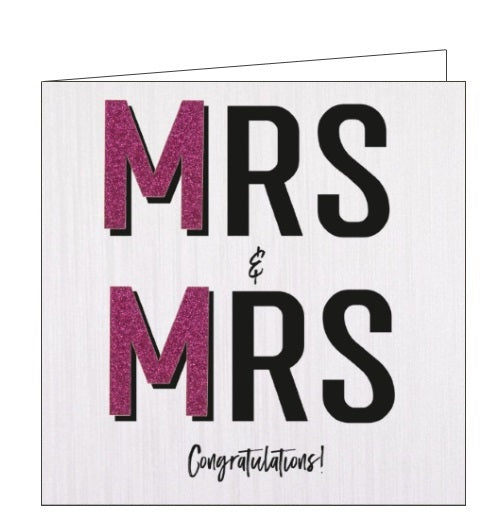 Handcrafted Card Company Mrs and Mrs wedding congratulations bride and bride card nickery nook