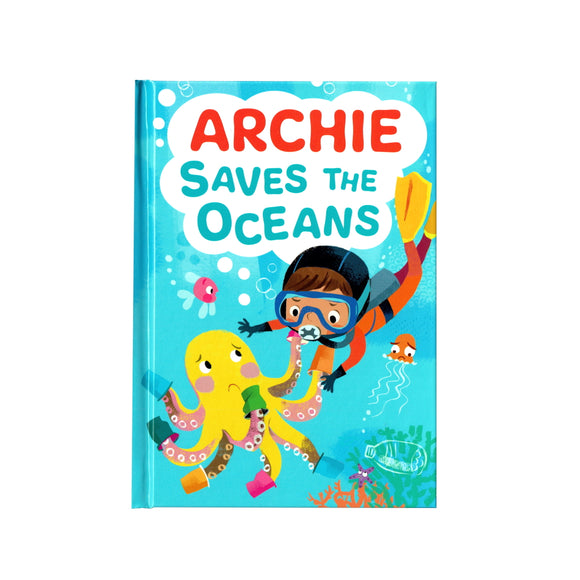 You can lead the charge, Archie. It's your time to be brave. Be the Guardian of the Seas and save the rolling waves.  These personalised story books are both fun and educational. Written by J. D. Green, with illustrations by Ela Smietanka this children's story book makes you the star with an important story about saving the oceans and understanding the cost of single-use plastics.