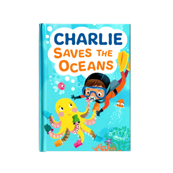 You can lead the charge, Charlie. It's your time to be brave. Be the Guardian of the Seas and save the rolling waves.  These personalised story books are both fun and educational. Written by J. D. Green, with illustrations by Ela Smietanka this children's story book makes you the star with an important story about saving the oceans and understanding the cost of single-use plastics.
