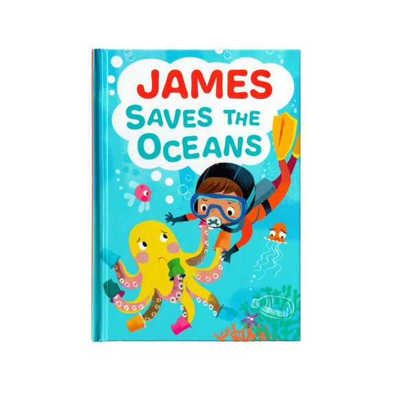 You can lead the charge, James. It's your time to be brave. Be the Guardian of the Seas and save the rolling waves.  These personalised story books are both fun and educational. Written by J. D. Green, with illustrations by Ela Smietanka this children's story book makes you the star with an important story about saving the oceans and understanding the cost of single-use plastics.