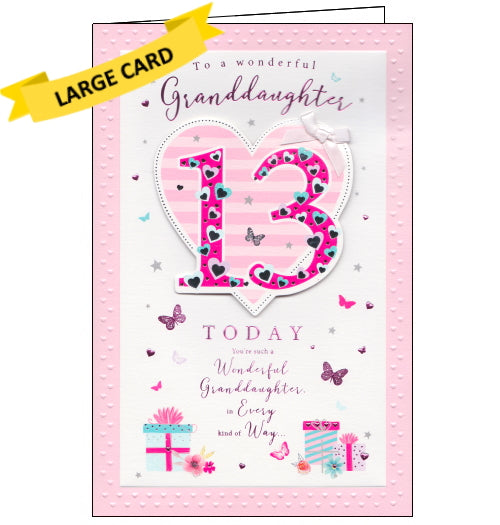 ICG 13th birthday card for granddaughter