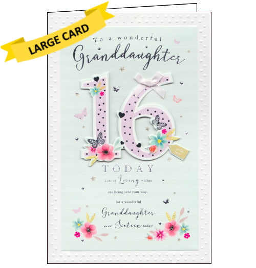 ICG 16th birthday card for granddaughter