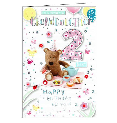 ICG Barley the brown bear granddaughter 2nd birthday card