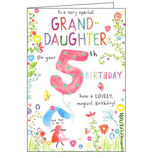 ICG 5 today granddaughter on your 5th birthday card Nickery Nook