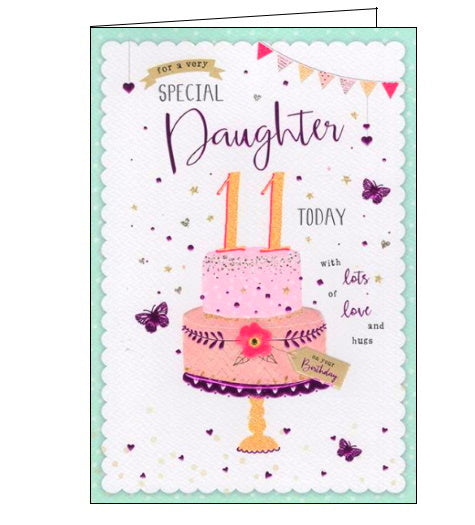 ICG For a special daughter on your 11th birthday card Nickery Nook